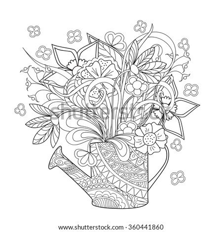 Hand drawn decorated image watering can with flower and herb.  Image for adult coloring  pages, tattoo, for decorate dishes, cups, porcelain, ceramics, walls. Vector illustration - eps 10. - stock vector
