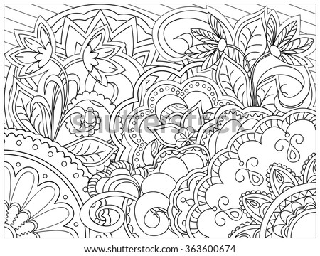 Hand drawn decorated image with doodle flowers and mandalas. Zentangle style. Henna Paisley flowers Mehndi. Image for adults coloring page. Vector illustration - eps 10. - stock vector