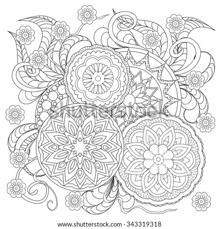 fado chicago st patricks day coloring pages | Hand drawn decorated image with flowers and mandalas ...