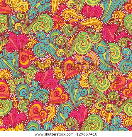 Hand-drawn decorative bright seamless pattern. - stock vector