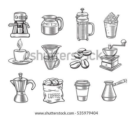Hand drawn decorative coffee icons set. Vector icons coffee for design cafe and restaurant.