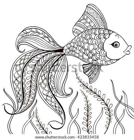 hand drawn decorative fish for for the anti stress coloring page hand drawn black decorative