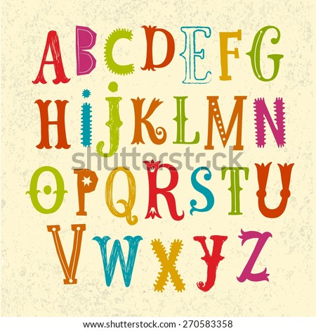 Hand drawn decorative funny vector ABC letters. Nice font for your design.