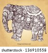 Hand drawn decorative Indian elephant - stock vector