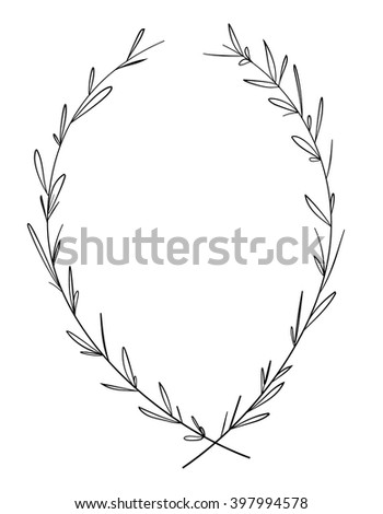 Hand drawn decorative laurel wreath. Vintage design elements. Perfect for invitations, greeting cards, certificates, quotes and more. Vector illustration