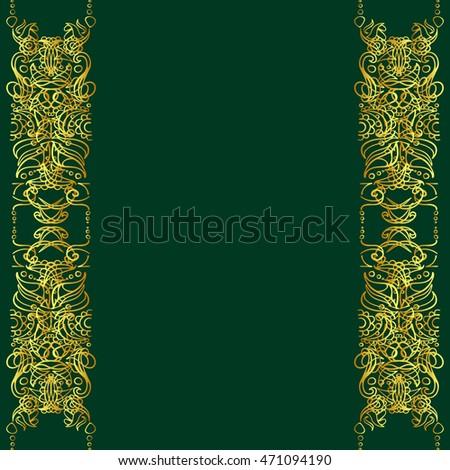 ornate gold frame border.  ornate hand drawn decorative ornate gold frame border on a green background with ornate gold frame border e