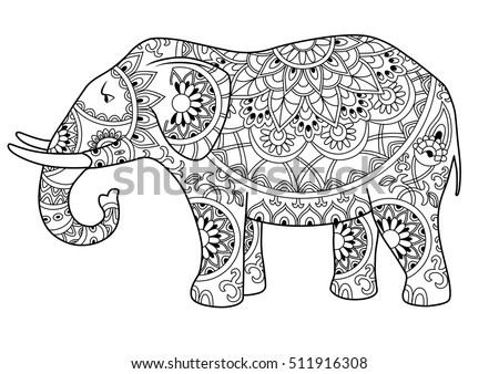hand drawn decorative outline elephant with indian patterns adult coloring book page horizontal drawing