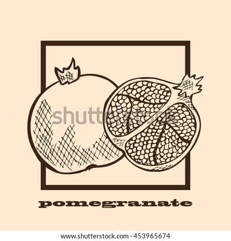 Hand drawn decorative pomegranates, design elements. Can be used for cards, invitations, scrapbooking, print, manufacturing. Fruit theme. Fruit sketch - stock vector