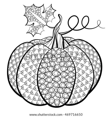 Hand Drawn Decorative Pumpkin Vector Illustration In Zentangle Style Isolated On White Background Sketch