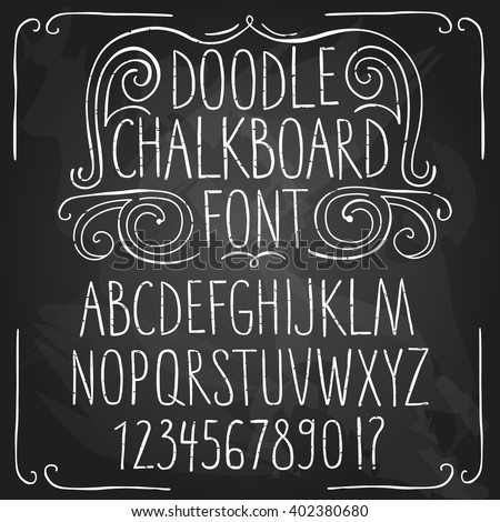 Hand drawn decorative set of  sketchy chalkboard ABC letters and figures on textured blackboard background. Hand drawn fonts for your design.