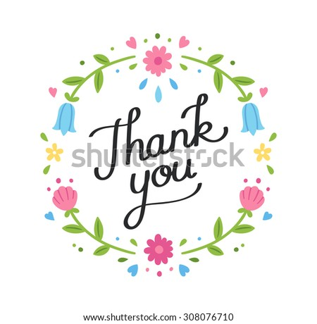 Hand drawn decorative Thank You banner with simple flower wreath.  - stock vector