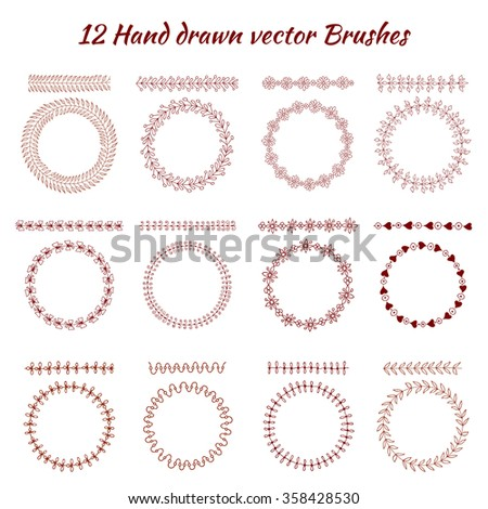 Hand drawn decorative vector brushes. Design elements. - stock vector