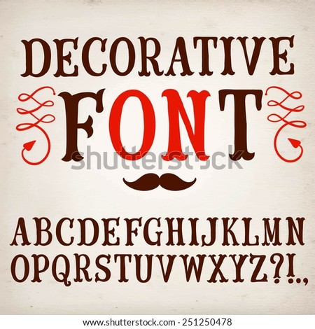 Hand drawn decorative vintage vector ABC letters on paper background. Nice font for your design.  - stock vector