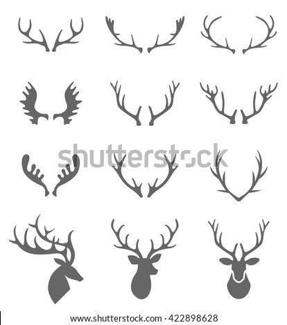 Hand Drawn Deer Antlers Vectors. Vector deer antlers isolated on white. Set of different antlers large, branched and acute. - stock vector