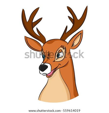 hand drawn deer head picture made stock vector 559614019 shutterstock rh shutterstock com cartoon deer head images cartoon deer head drawing