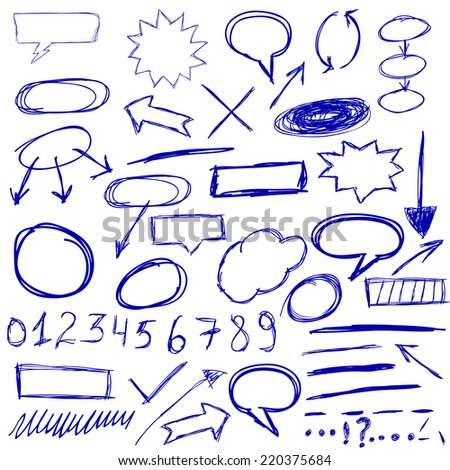 Hand-drawn design elements collection - stock vector