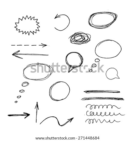 Hand drawn design elements collection. Vector hand drawn frames and bubbles collection - stock vector