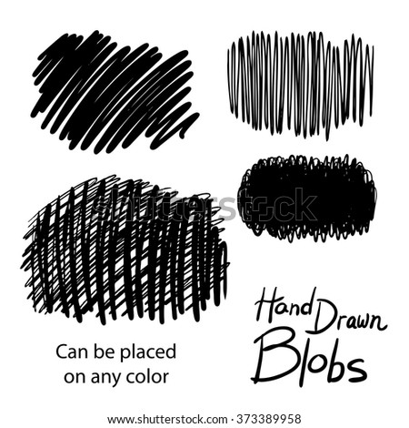 hand drawn design elements, set of blobs or doodle splotches of black background vector textures, collection of black paint marker illustrations, can be changed to any color, and placed on any color - stock vector