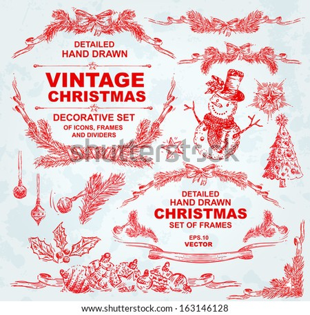 Hand Drawn Detailed Christmas Set - stock vector