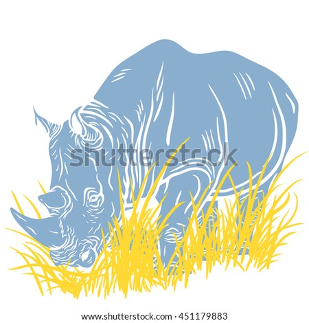 Hand drawn detailed inversed illustration of a walking rhinoceros. High quality anatomic and realistic image. Colored picture.