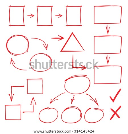 hand drawn diagram element, circle and rectangle diagram - stock vector