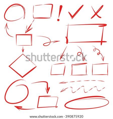 hand drawn diagram,  marker elements, highlighter set - stock vector