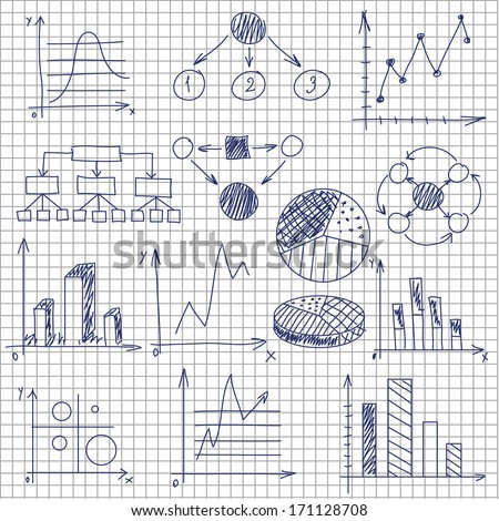 Hand-drawn diagrams on notebook sheet - stock vector