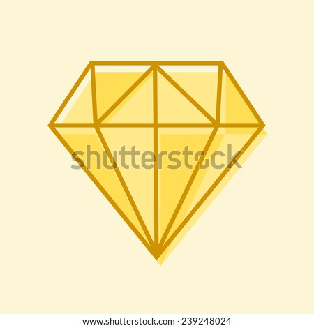 Hand drawn diamond isolated - stock vector