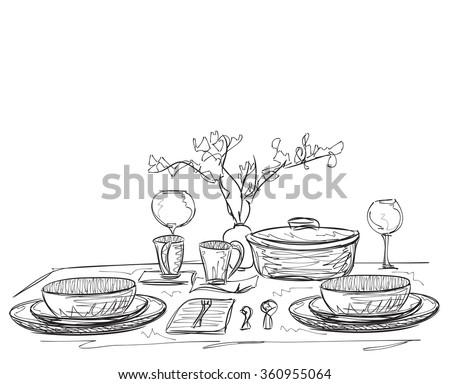 Hand Drawn dinner dishware - stock vector