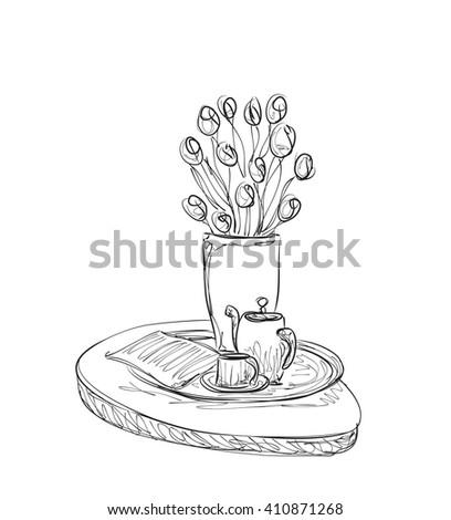 Hand Drawn dinner tea wares. Romantic breakfast - stock vector