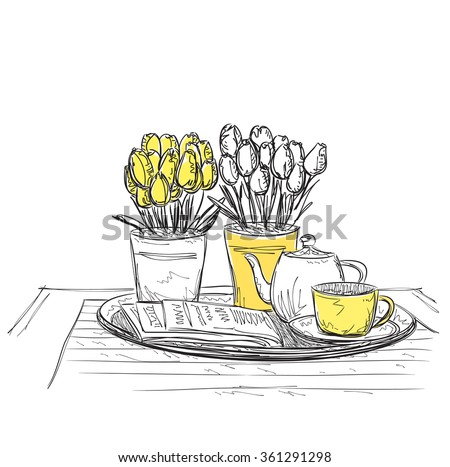 Hand Drawn dinner wares - stock vector