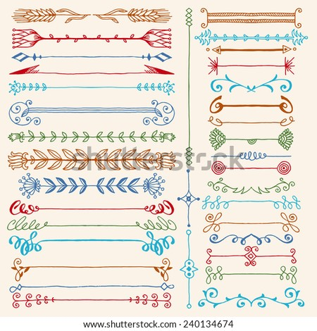 Hand drawn dividers design elements color set. Vector illustration. - stock vector