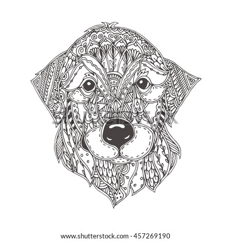 Golden Retriever Dog Zentangle Stylized Head Stock Vector
