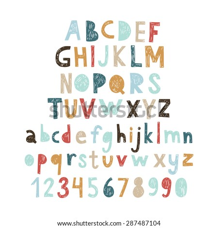 Hand drawn doodle abc, cut out font. Vector illustration. - stock vector