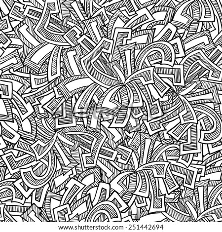 Hand-drawn doodle abstract seamless pattern - stock vector