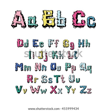 Hand-drawn, doodle alphabet in trees. English alphabet font from plants, consisting of capital and small letters