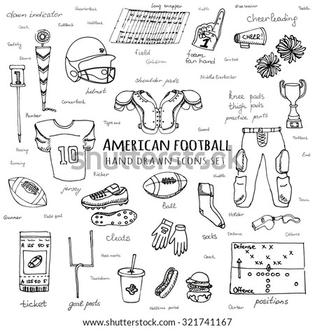 Hand drawn doodle American football set Vector illustration Sketchy sport related icons football elements, ball helmet jersey pants knee thigh shoulder pads cleats field cheer leading down indicator
