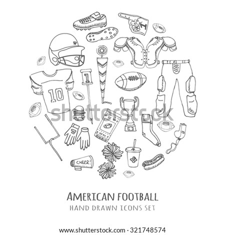 Hand drawn doodle American football set Vector illustration Sketchy sport related icons football elements, ball helmet jersey pants knee thigh shoulder pads cleats field cheer leading down indicator - stock vector