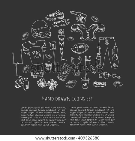 Hand drawn doodle american football set Vector illustration Sketchy sport related icons football elements, ball helmet jersey pants knee thigh shoulder pads cleats field cheerleading down indicator - stock vector