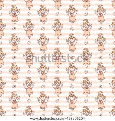 Hand Drawn Doodle Angels and Stars Seamless pattern. Cute Christmas Pink background vector illustration - stock vector