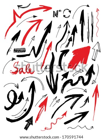 Hand Drawn Doodle Arrows Set - stock vector