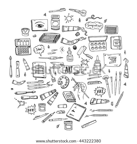 Hand Drawn Doodle Art And Craft Tools Icons Set Vector Illustration Artistic Instruments Symbols Collection Cartoon
