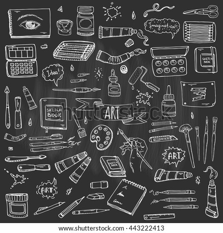 Hand drawn doodle Art and Craft tools icons set Vector illustration artistic instruments symbols collection Cartoon Sketch Brush Watercolor Paint Elements isolated on blackboard background