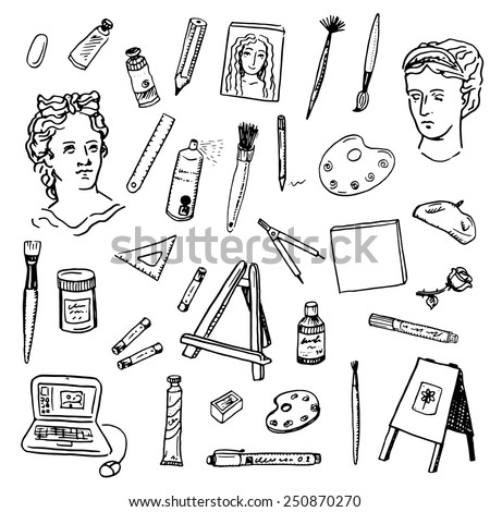 Hand drawn doodle artist tools set - stock vector