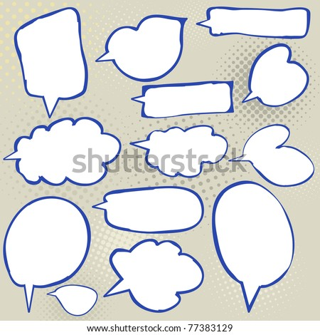 Hand-drawn doodle banners, frames and shapes with copy space. - stock vector