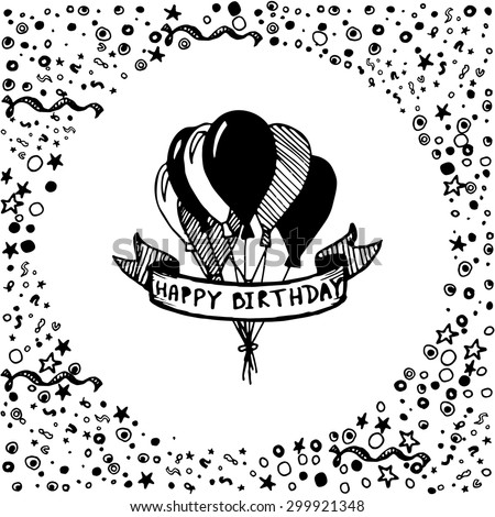 Hand Drawn Doodle Birthday Card Balloons Stock Vector 300078974