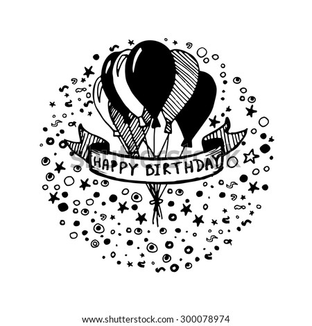 Vector Doodle Birthday Card Design Vector 226843504 – Black and White Birthday Card