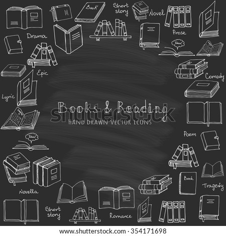 Hand drawn doodle Books and Reading set Vector illustration Sketchy set of book icons elements Vector symbols of reading and learning Educational club illustration Education logo element - stock vector
