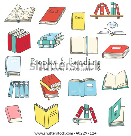 Hand drawn doodle Books Reading set Vector illustration Sketchy book icons elements Vector symbols of reading and learning Book club illustration Back to school Education University College symbols - stock vector