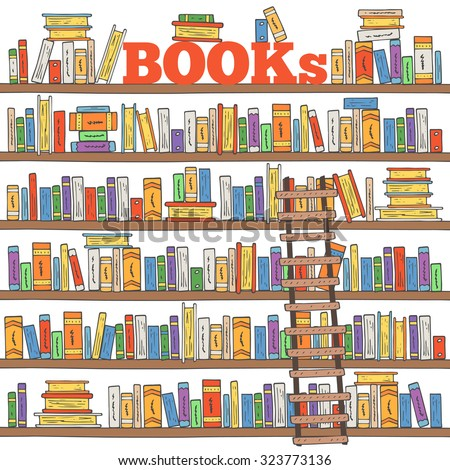 Books Shelves hand drawn doodle books shelves collection stock vector 323773136